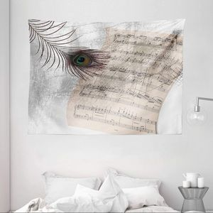 "Music Note Peacock Tapestry 80""x60"""